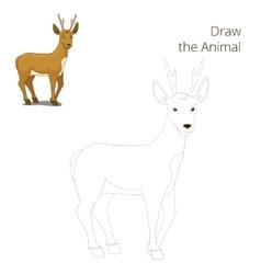 Draw forest animal roe deer cartoon vector