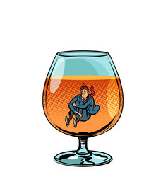 drunkard in brandy glass vector image