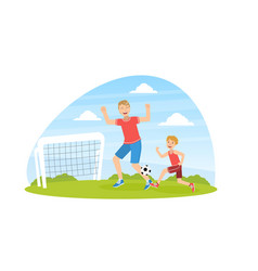 Father and son playing soccer cheerful dad vector