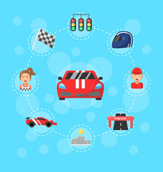 Flat car racing icons infographic concept vector