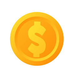 flat gold dollar coin icon isolated vector image
