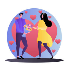 flat loving couple cartoon style vector image