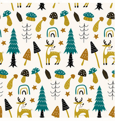 Forest seamless pattern with cute animals deer vector
