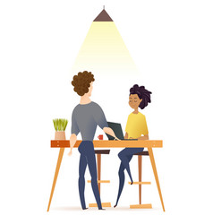 freelance couple work by table in coworking space vector image