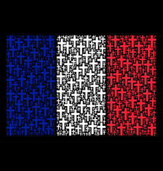 french flag collage of religious cross icons vector image