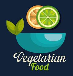 fresh lemon and orange in bowl vegetarian food vector image