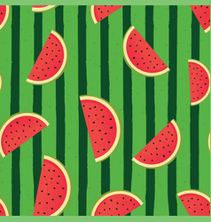 green watermelon striped background vector image