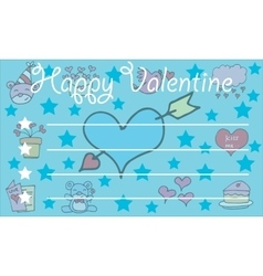 Greeting card valentine on blue backgrounds vector