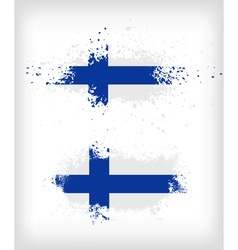 Grunge finnish ink splattered flag vector