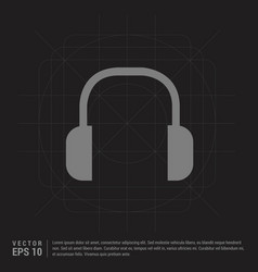 headphone icon - black creative background vector image