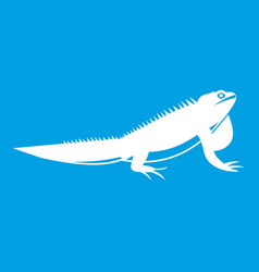 Iguana icon white vector