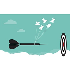image of birds with darts target aim in the sky vector image