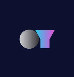 initial alphabet letter oy o y logo company icon vector image