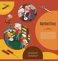 isometric barber shop colorful template vector image