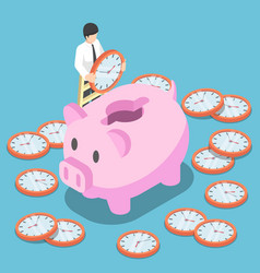 isometric businessman putting a clock into a pink vector image