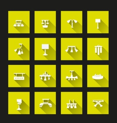Lamp icon set long shadow vector image
