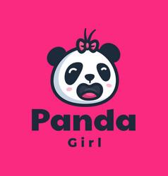 Logo panda mascot cartoon style vector