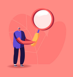man character holding huge magnifier glass on vector image
