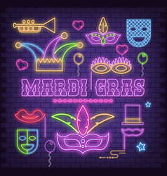 mardi gras neon icons vector image