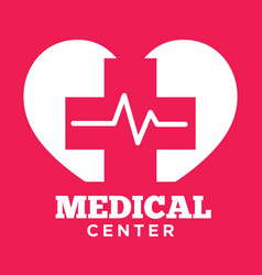 medical center red and white graphic logo with vector image