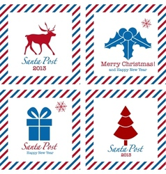 Merry Christmas postal stamps vector
