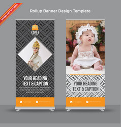 modern geometrical pattern rollup banner in grey vector image