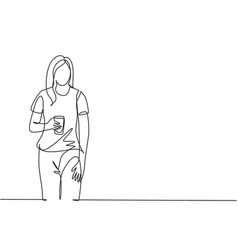 one single line drawing young female college vector image