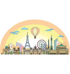 Paris colorful line art 8 vector