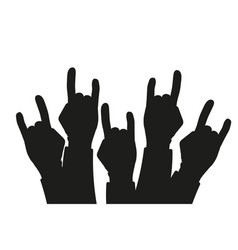 Party crowd raised rock hands silhouettes at a vector