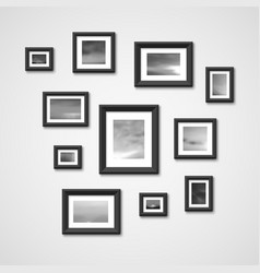 Picture frames with nature photos on wall vector