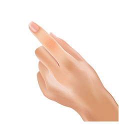 realistic hand woman forefinger pointing touch vector image