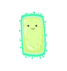 rectangular green bacterium or virus with short vector image