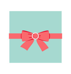 Red bow with pearl buckle vector image