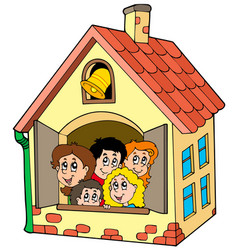 School building with kids vector