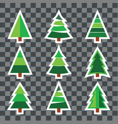 set christmas tree sticker set on transparent vector image