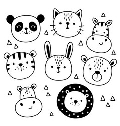 set cute funny animals heads vector image