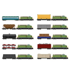 set icons railway train 03 vector image