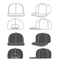 Set images a rapper cap snapback vector