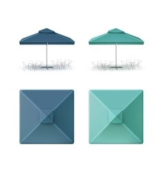 Set of Blue Cafe Square Umbrella Parasol Isolated vector