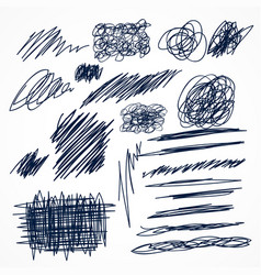 set of hand drawn ink pen scribbles vector image