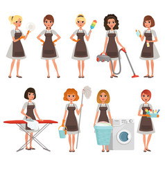 Set of housewives with different equipment vector