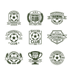 Set of isolated vintage soccer club signs vector