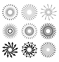 set of retro brush sun burst shapes vintage logo vector image