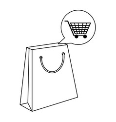 shopping bag and cart bubble in black and white vector image