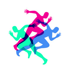 silhouette a running man sport colorful poster vector image