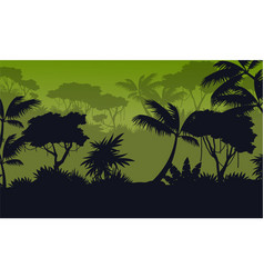 Silhouette forest with green background vector