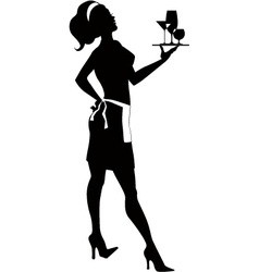 Silhouette of a cocktail waitress vector