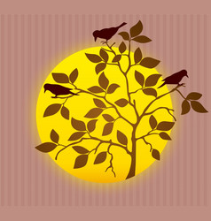 silhouette spring tree vector image