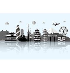 silhouette tokyo city in japanjapan landmarks vector image
