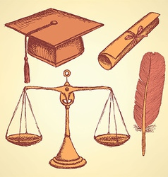 Sketch justice and education set vector
